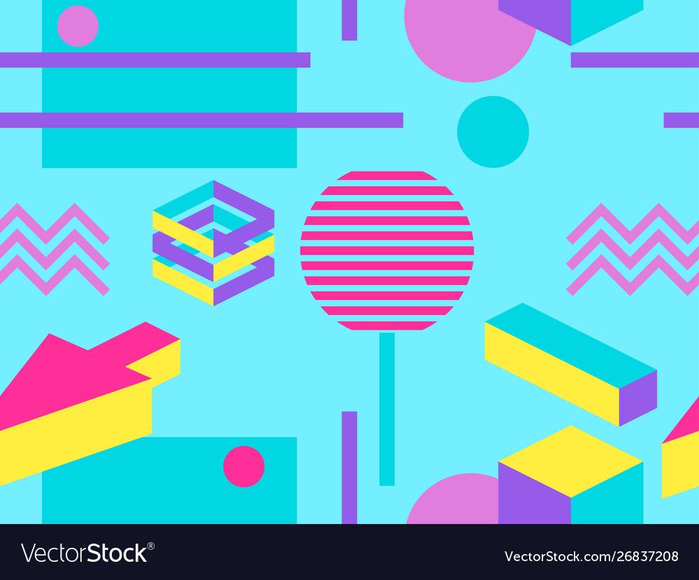 Geometric seamless pattern in memphis and pop art