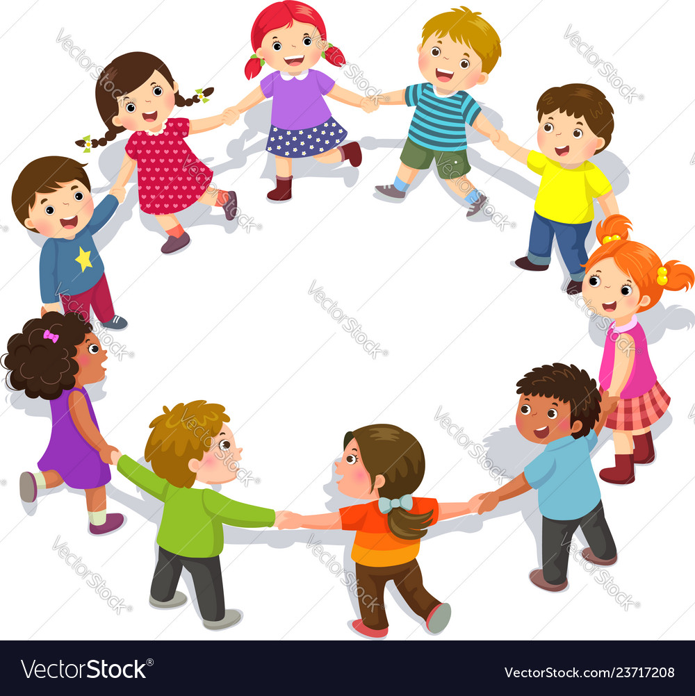 Happy kids holding hands in a circle cute boys