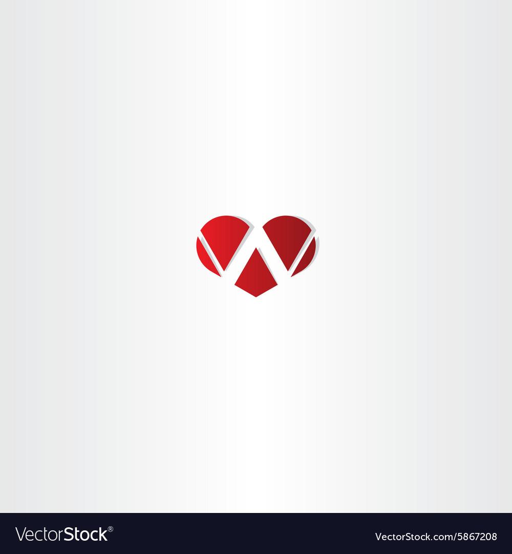 Letter w heart logotype sign
