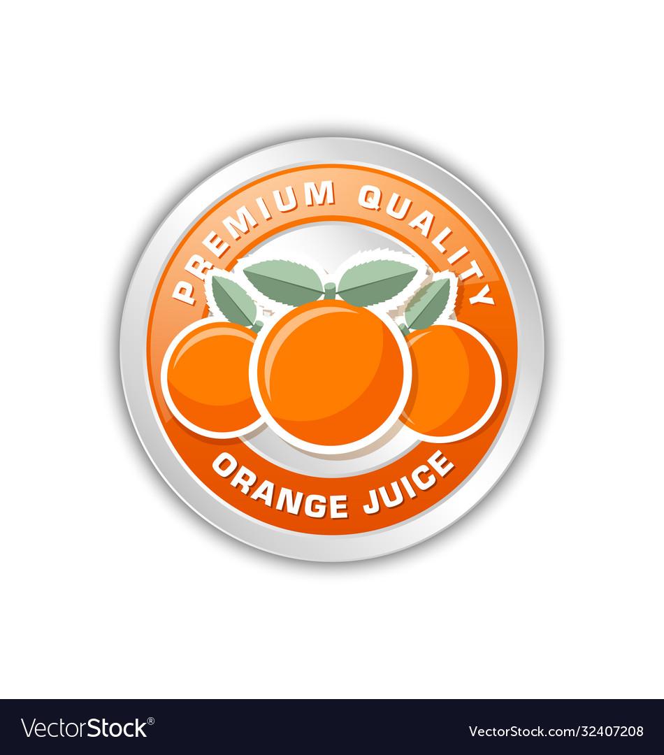 Premium quality orange juice badge with three