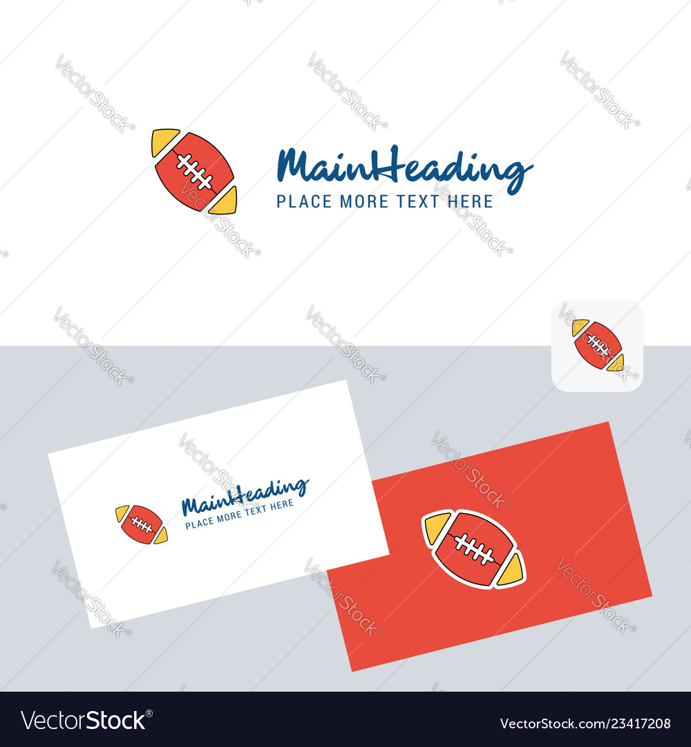 Rugby ball logotype with business card template