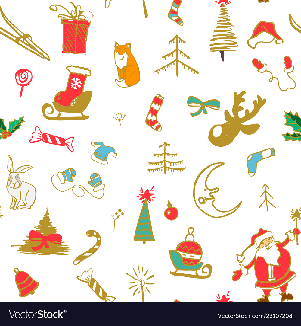 Seamless traditional christmas background