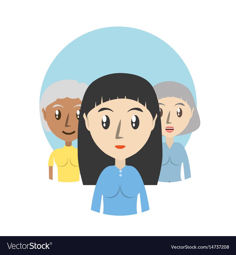 Set avatars women of different diversity over blue