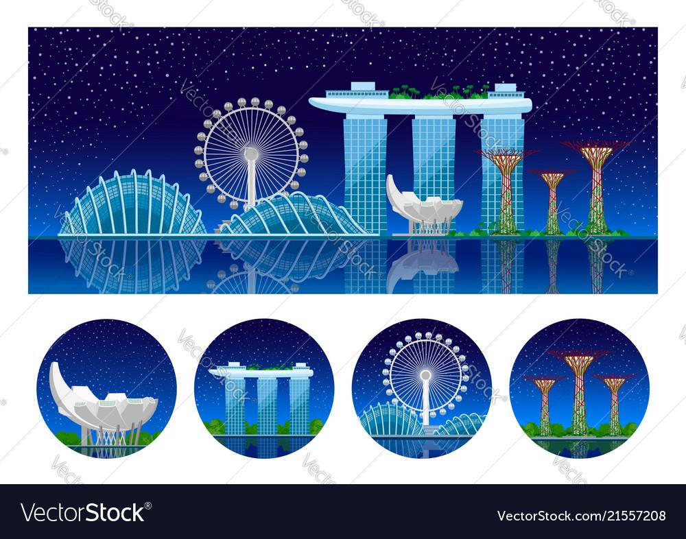 Singapore panoramic view of the city at night