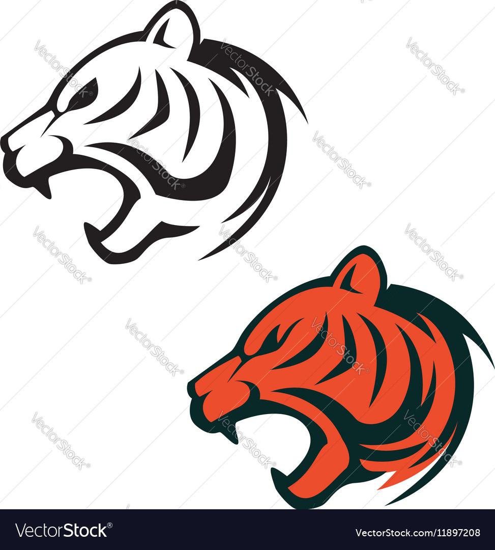 tiger head logo template design element for label vector image rh vectorstock com mizzou tiger head logo tiger head logo free