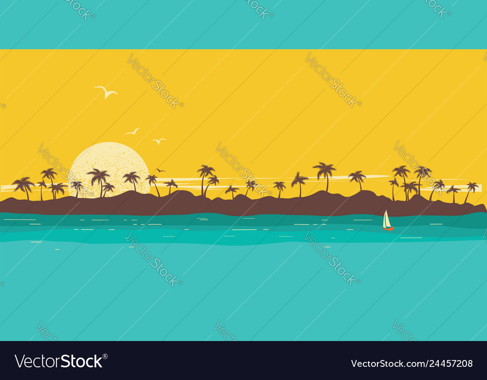 Tropical island paradise seascape background with