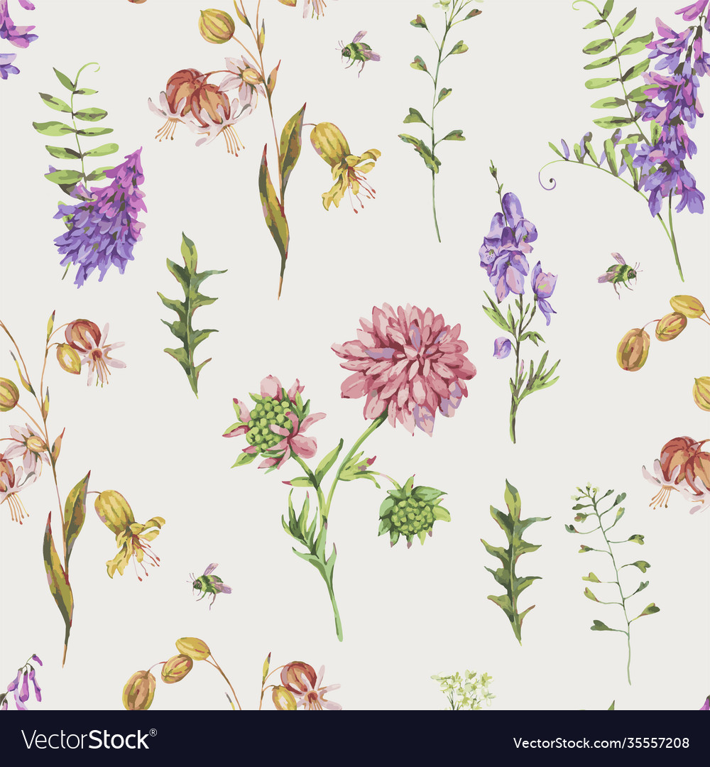 Watercolor seamless pattern with summer meadow
