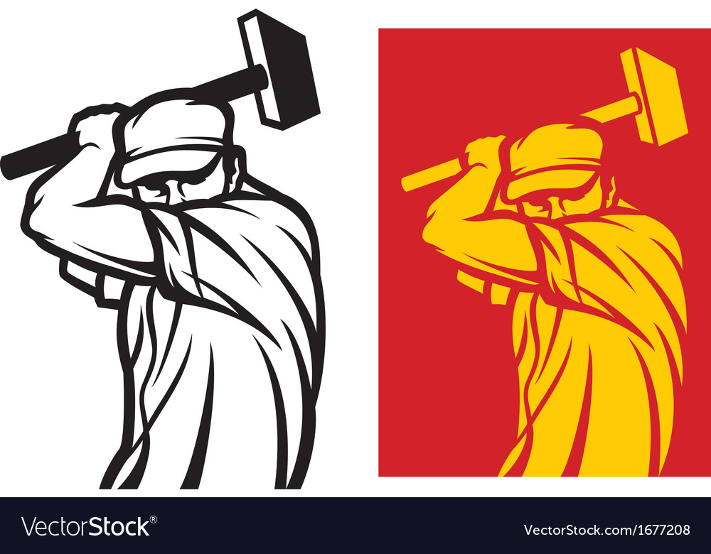 Worker holding a hammer vector image