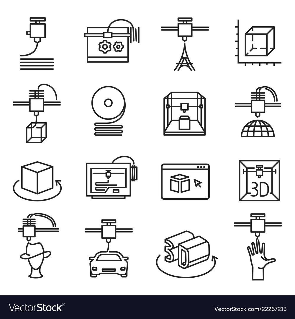 3d printing symbol three dimensional line icon
