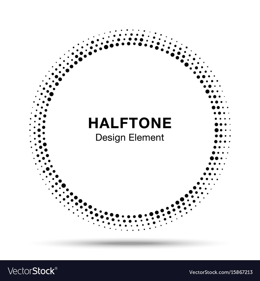 Abstract circle frame halftone random dots emblem vector image