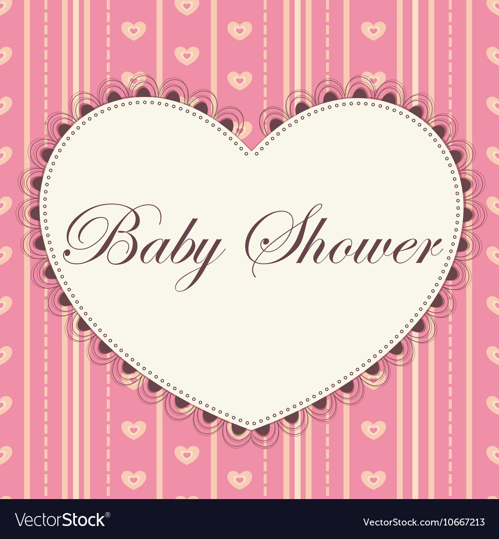 Baby Shower With Heart Pink Vintage Royalty Free Vector