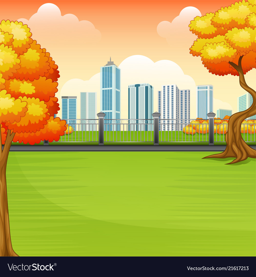 Beautiful autumn park with city buildings