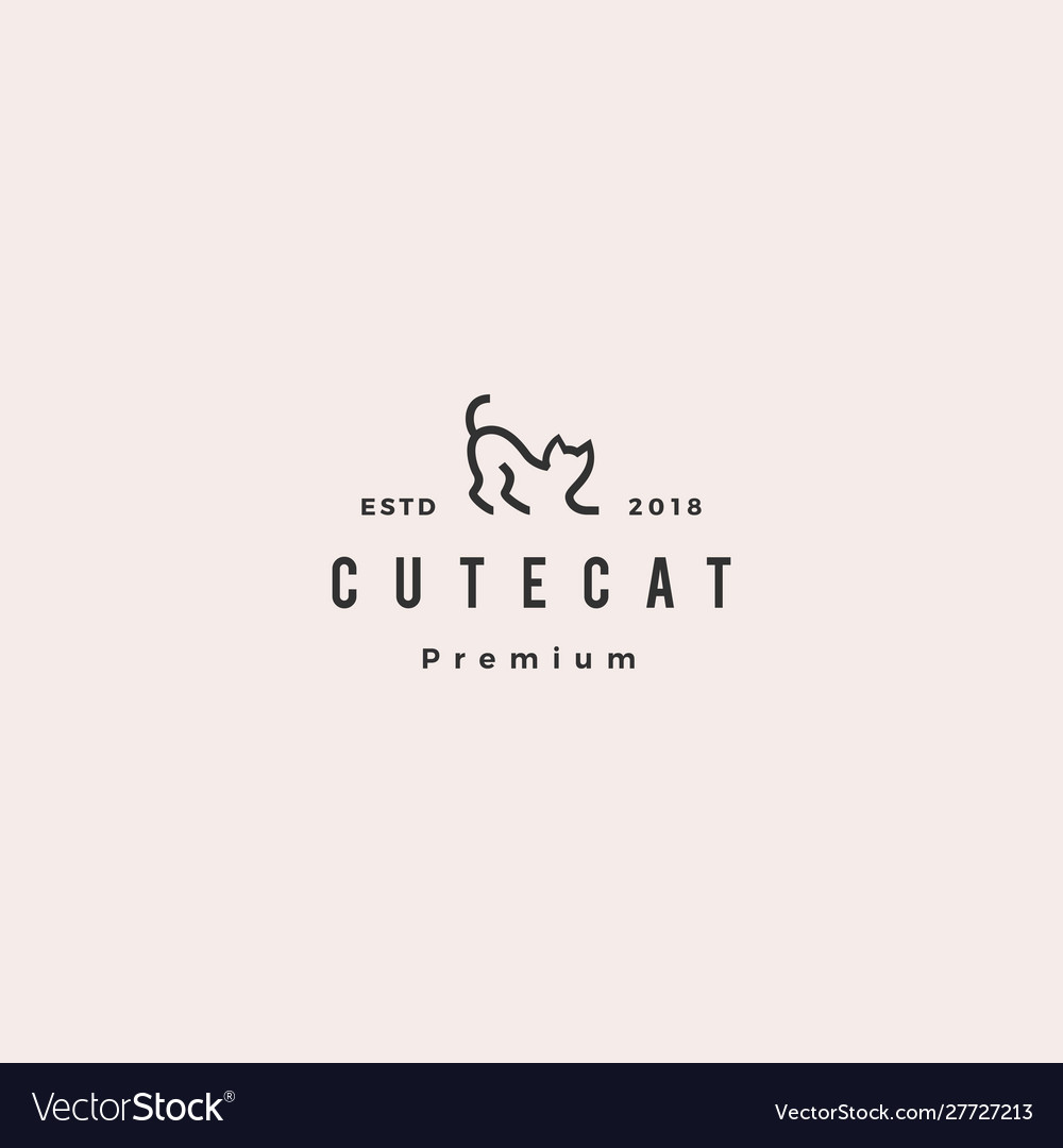Cat logo hipster retro vintage icon line outline