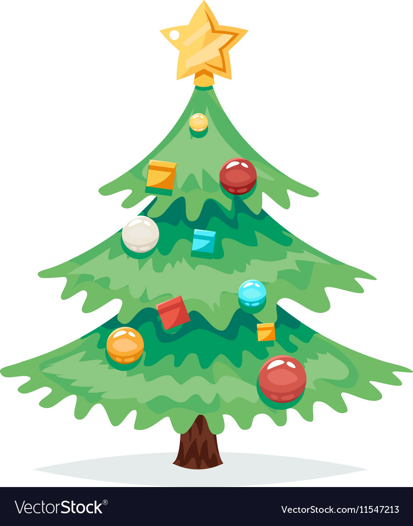 christmas tree decorations and toys new year vector image vectorstock