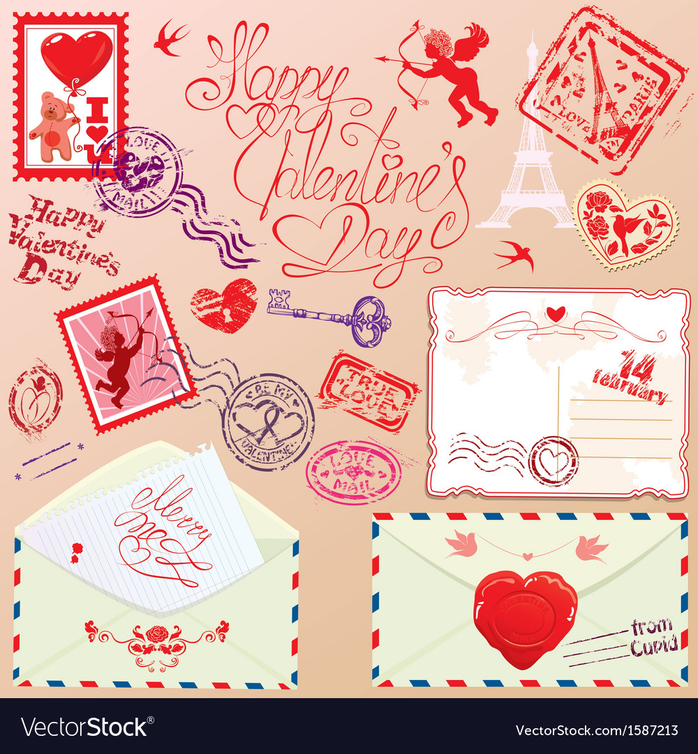 Collection of love mail design elements - stamps