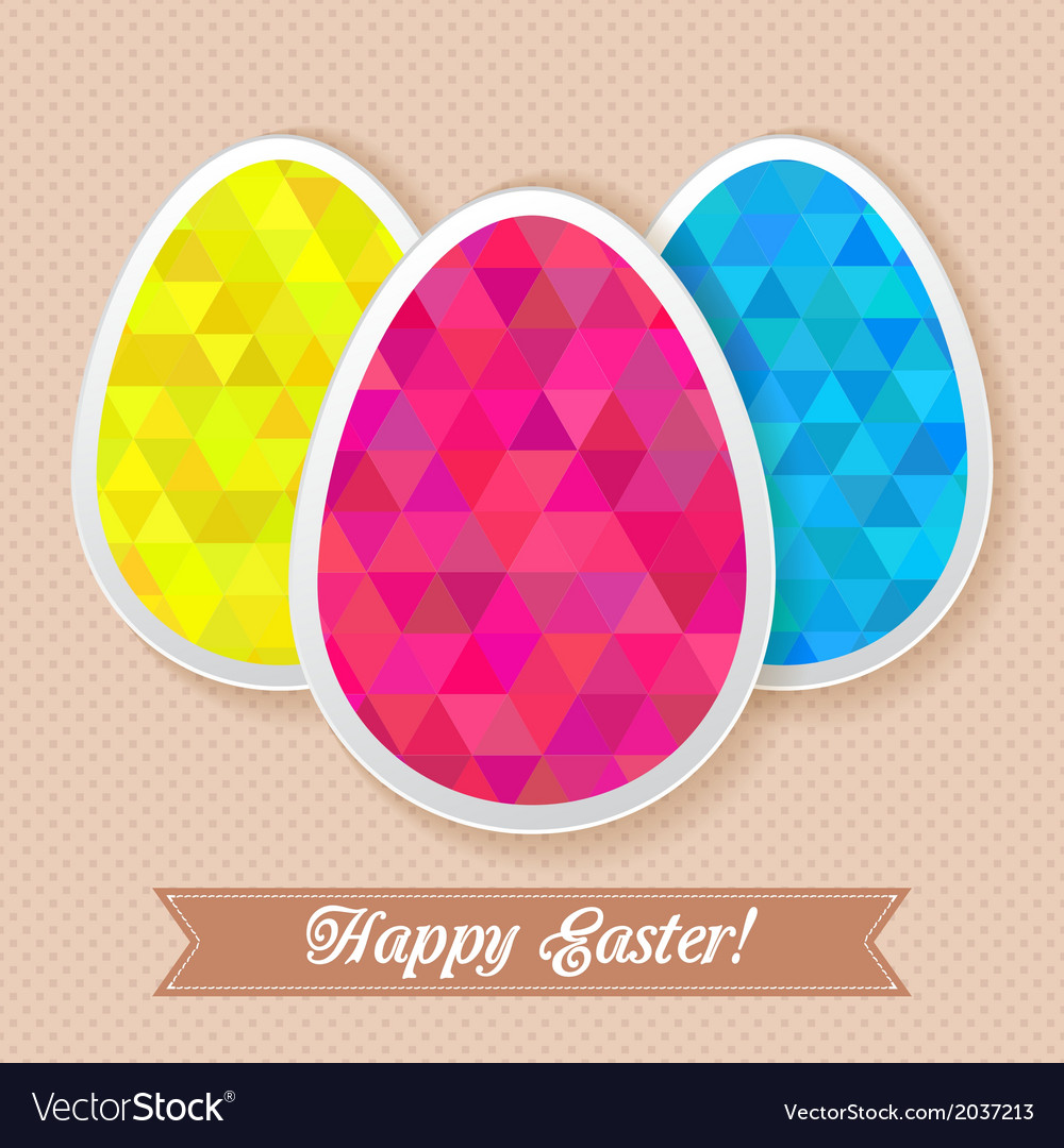 Greeting easter card with triangles eggs