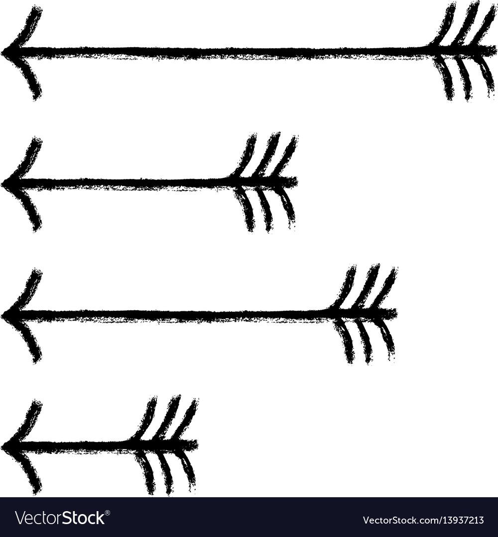 Set arrows black sign brushstroke texture vector image