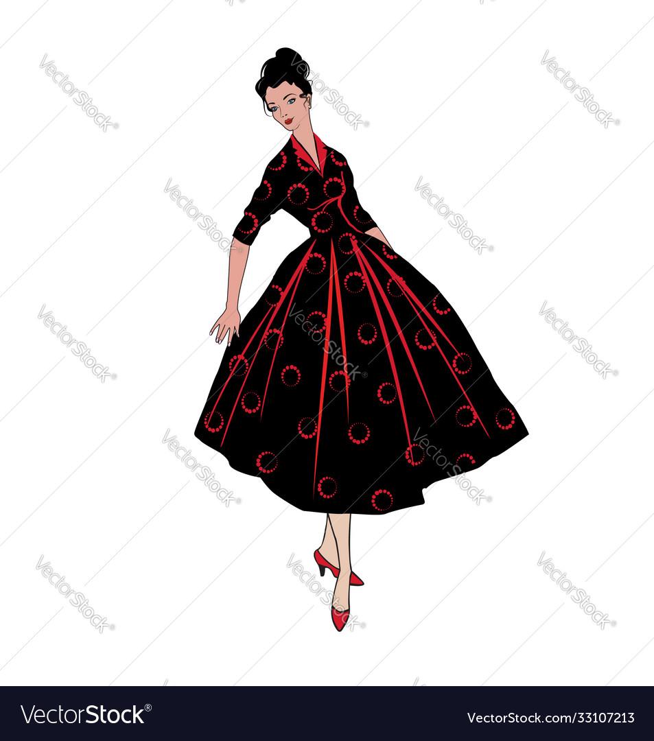 Stylish fashion dressed girls 1950s 1960s style