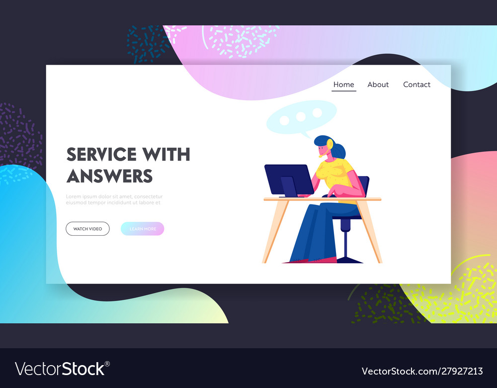 Support center website landing page woman