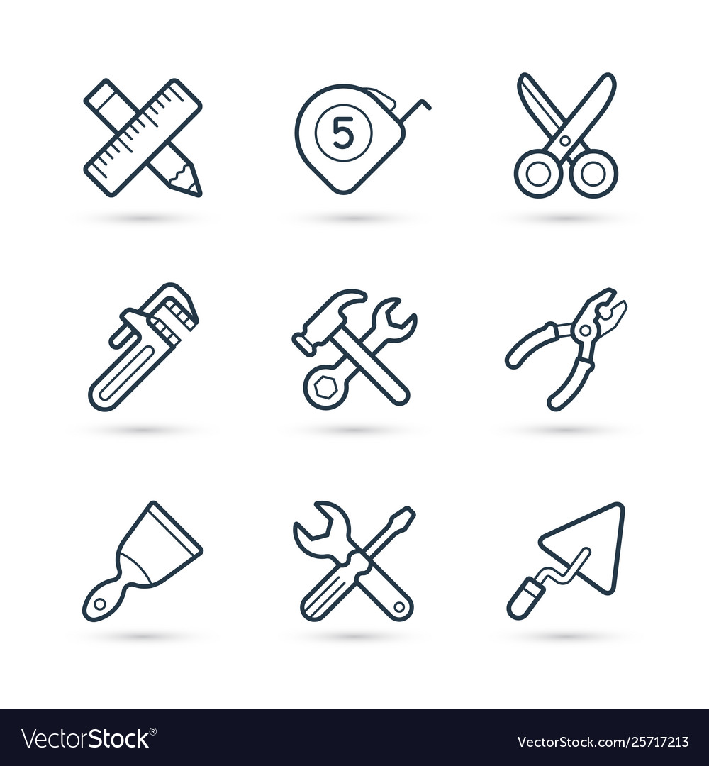 Tools construction trendy icon set eps 10