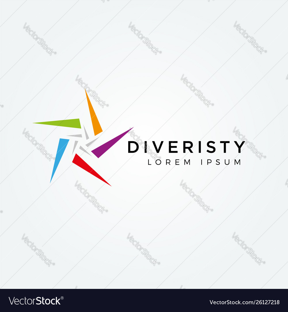 Abstract colorful star diversity logo sign symbol