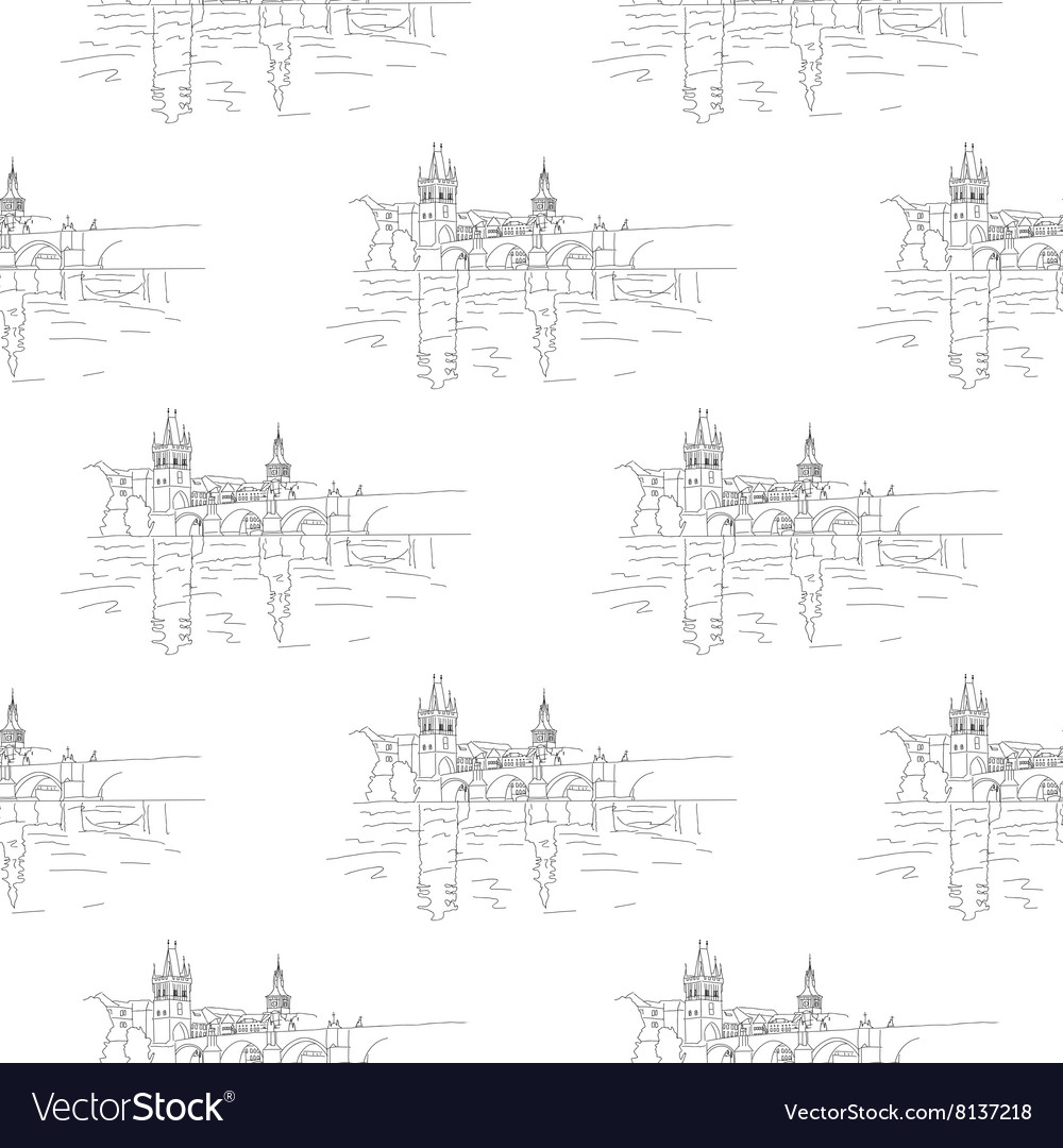 Charles bridge seamless vector image
