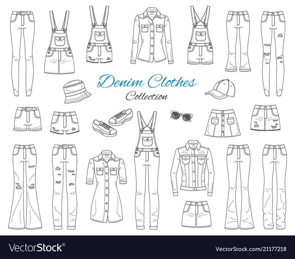 Denim clothes collection sketch