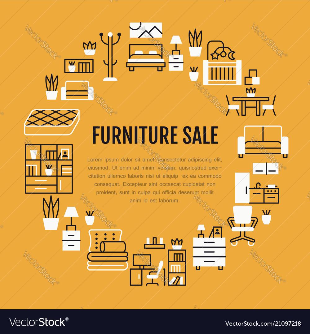 furniture sale banner. Furniture Sale Banner With Flat Line Vector Image Furniture B