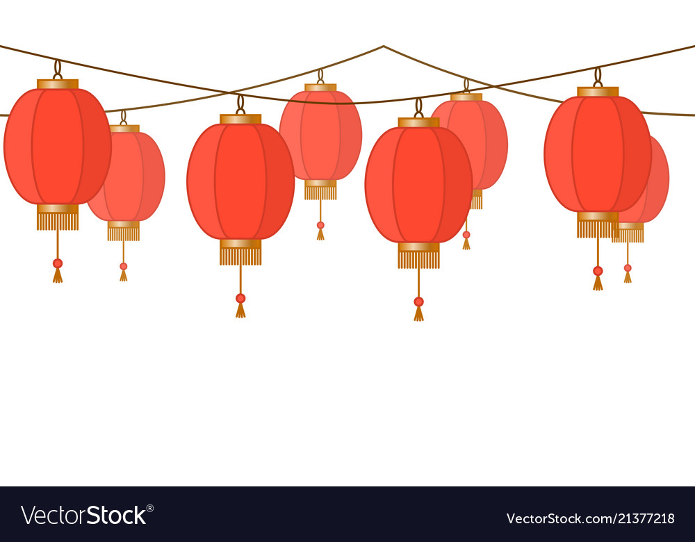 Garland with chinese lantern chain red asian