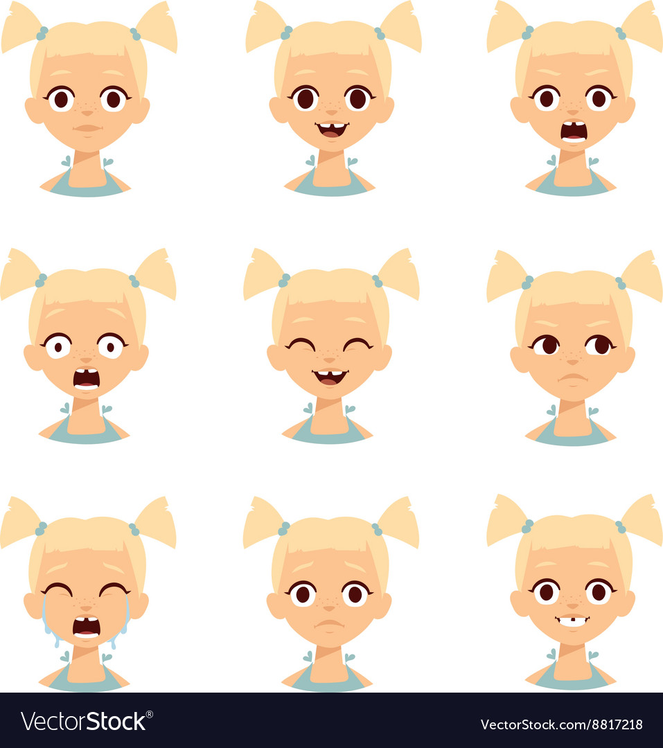 Girl emotions face vector image