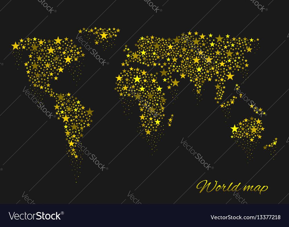 Golden sparkles world map vector image