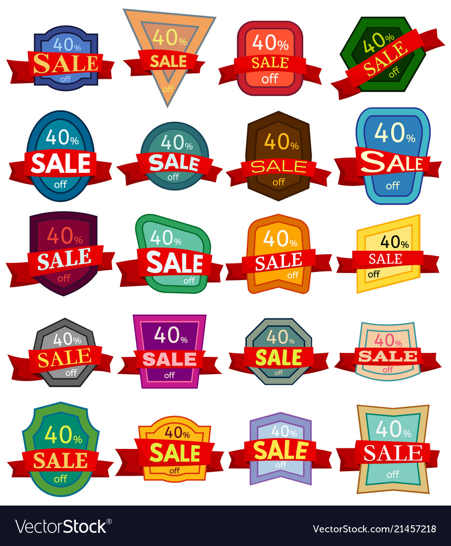 Set of twenty discount stickers