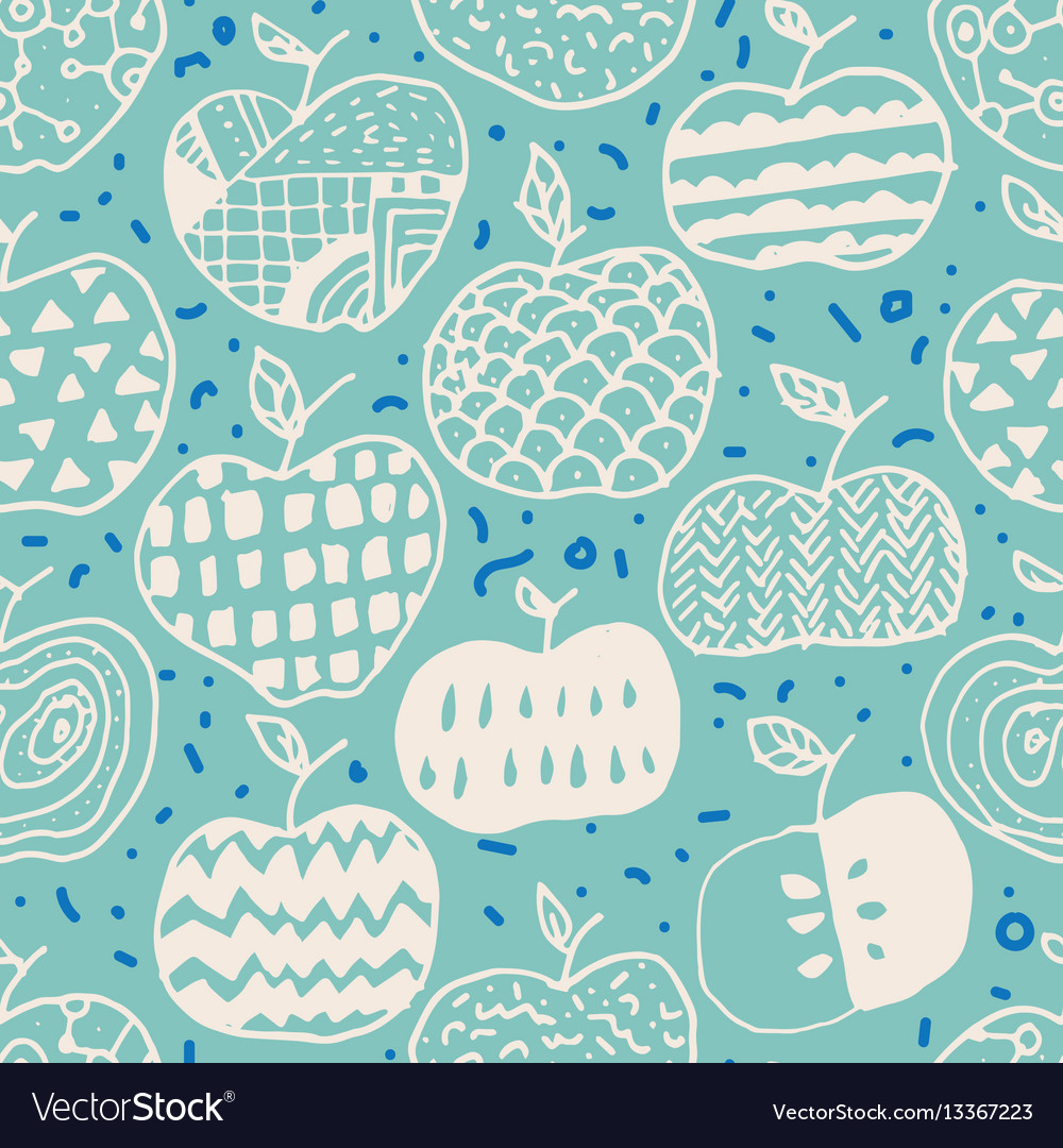 Apple doodle seamless pattern vector image