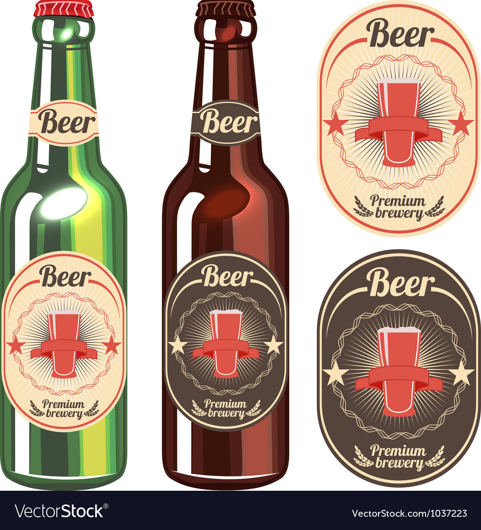 Bottle of light and dark beer with vintage label vector image