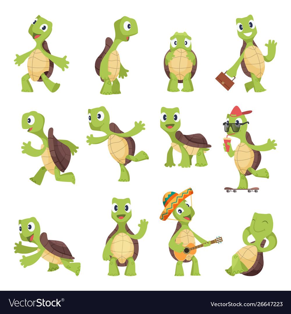 Cartoon turtles happy funny animals running