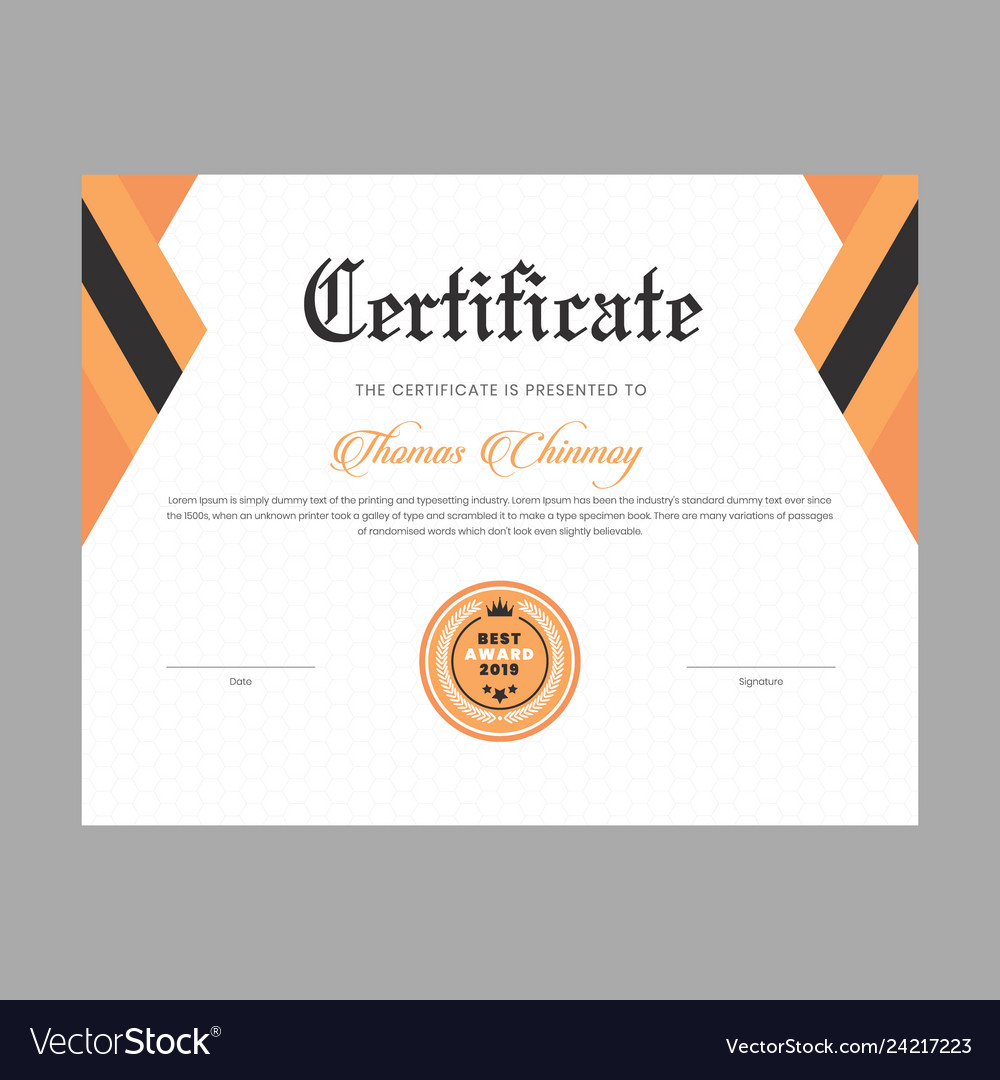 Certificate template for diploma and graduation