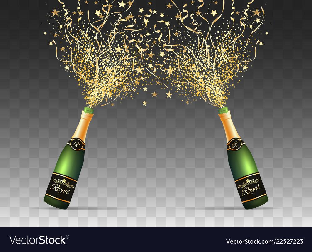 Champagne confetti bottles on transparent
