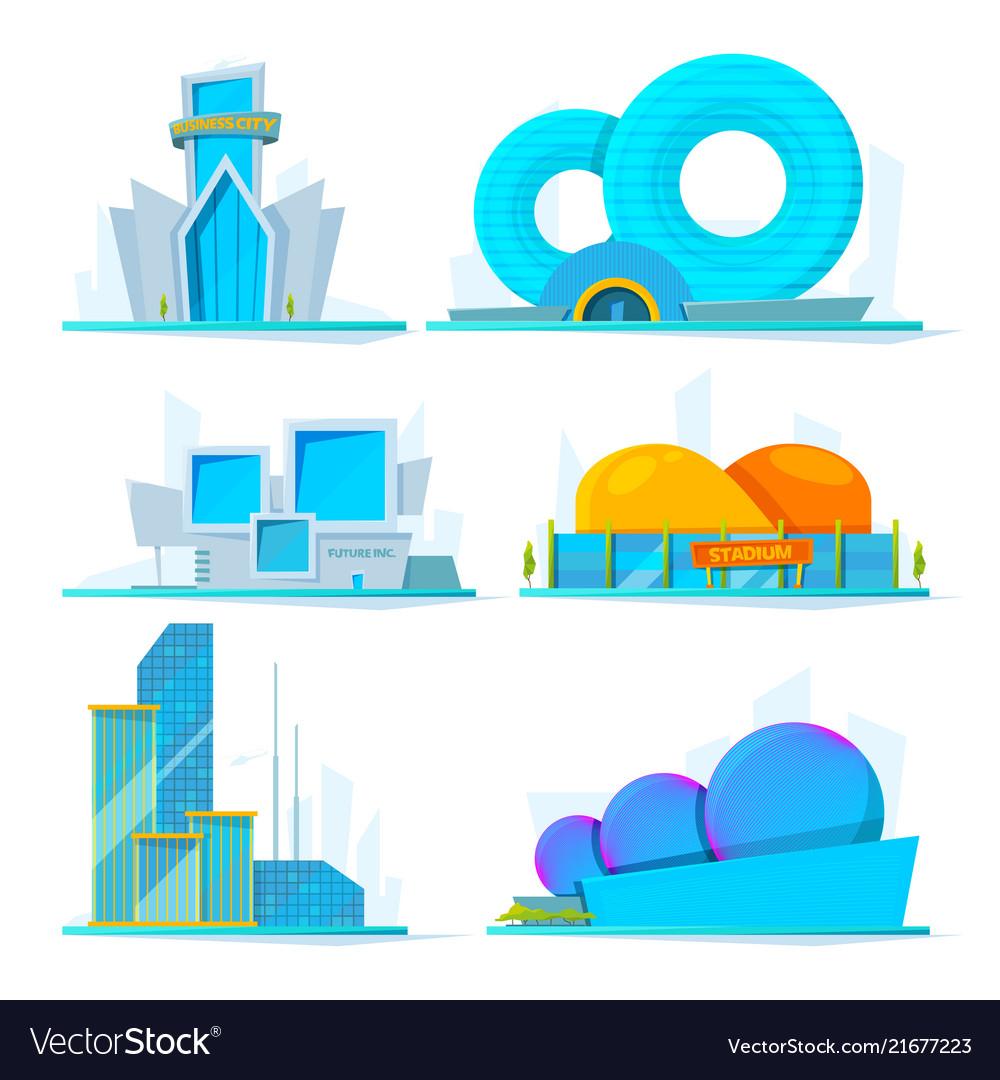 Fantastic buildings of future cartoon