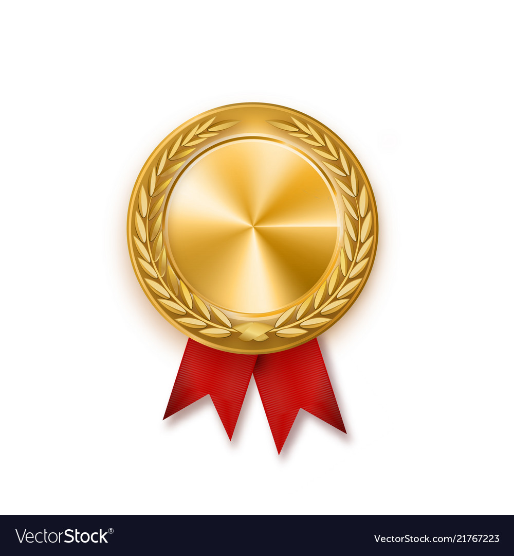 Gold medal with red ribbon metallic winner award Vector Image