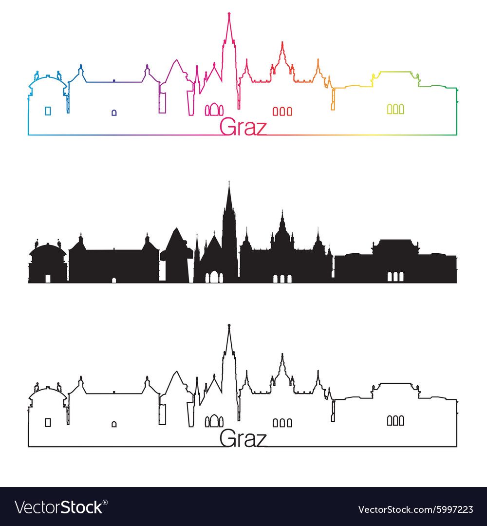 Graz skyline linear style with rainbow vector image