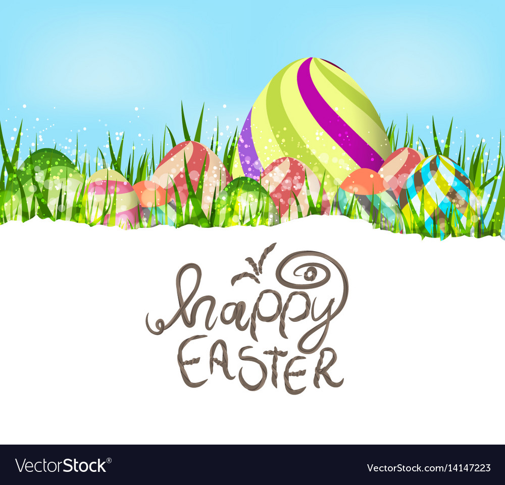 Happy easter eggs spring background