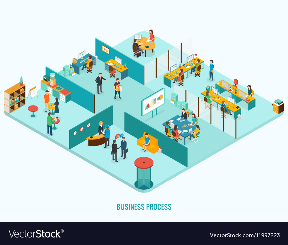 Office Interior Reception meeting open space vector image