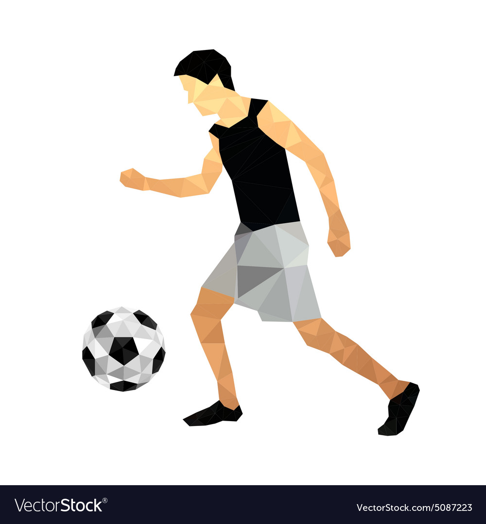 Origami football player vector image