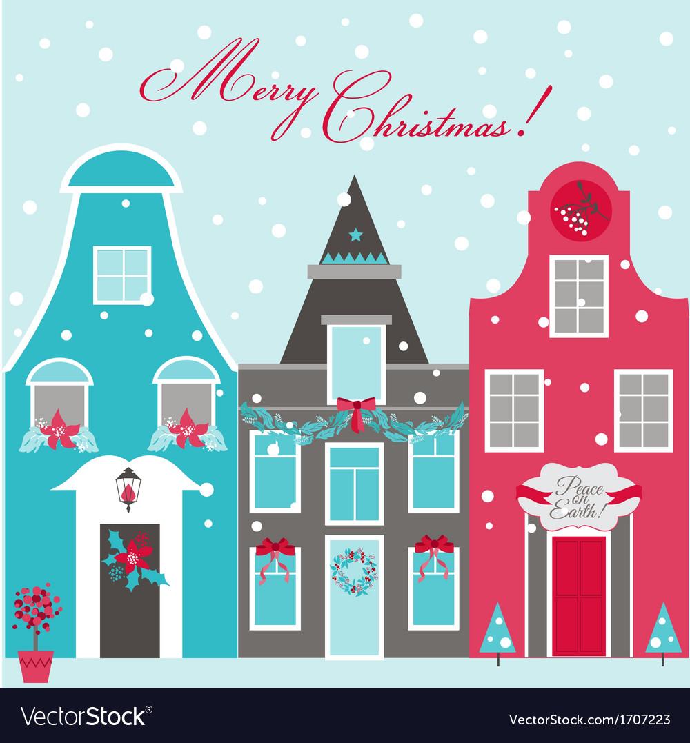 Retro christmas invitation card christmas houses retro christmas invitation card christmas houses vector image stopboris Images