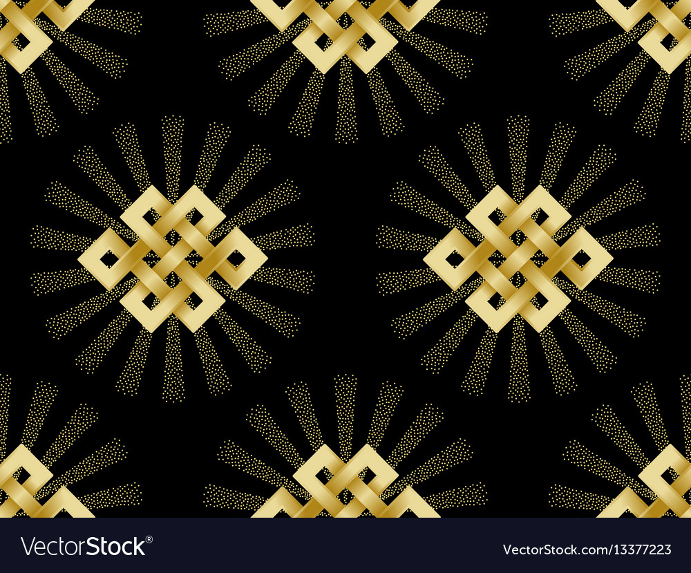 Seamless pattern of gold endless knot