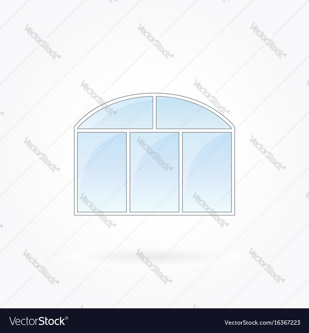 Threefold closed window with twofold arched top vector image