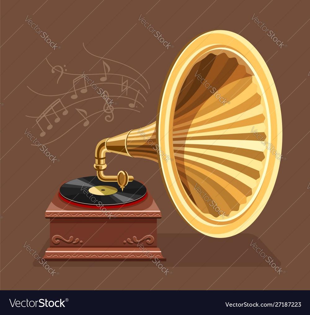 Vintage gramophone with retro