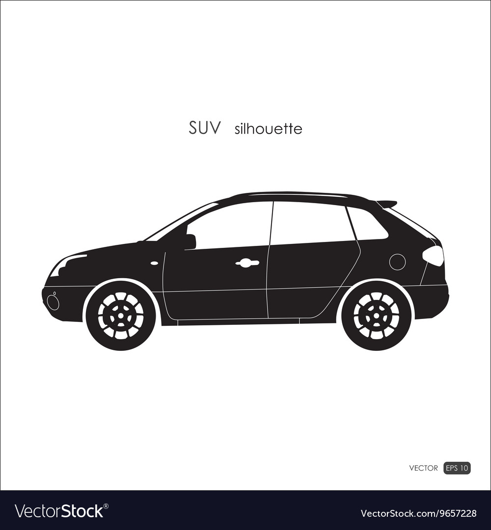Black SUV silhouette on white background