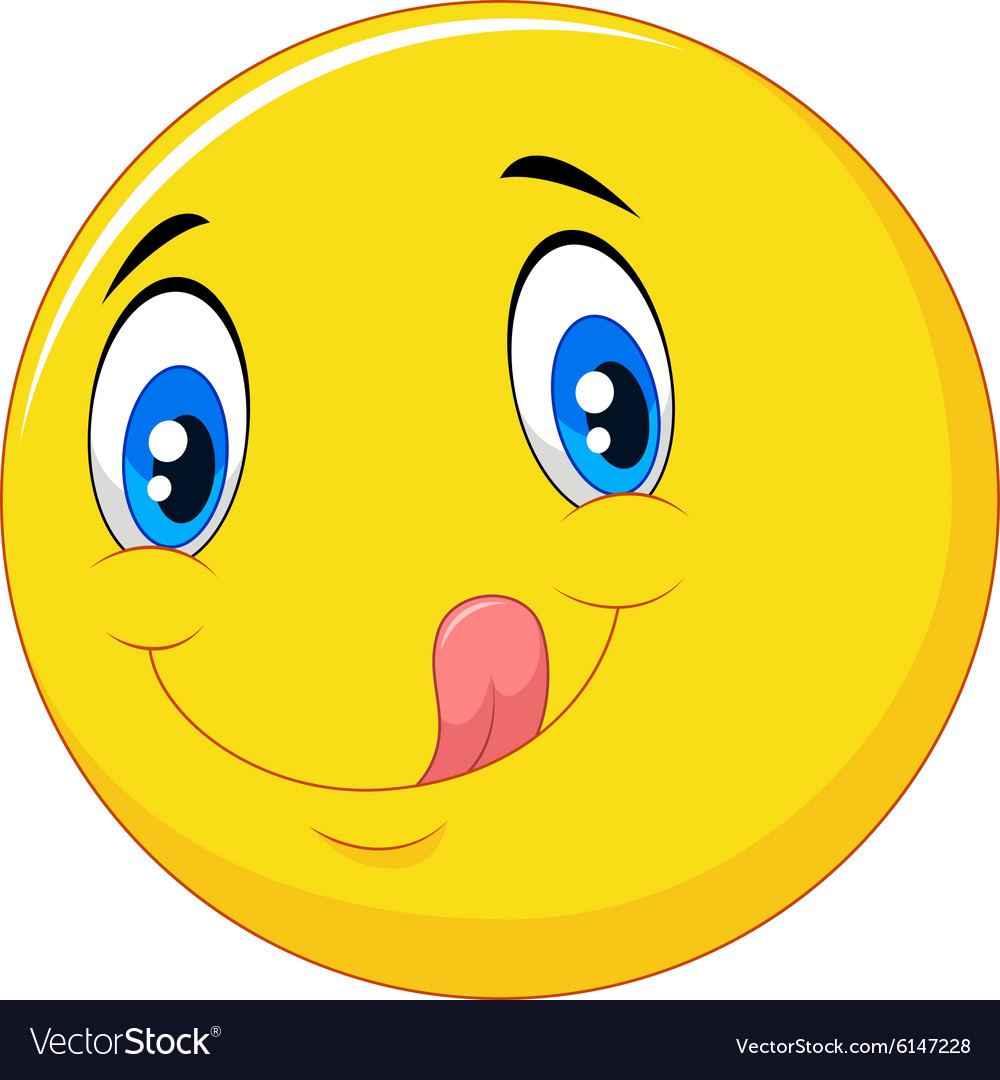 Cartoon emoticon delicious with tongue out vector image