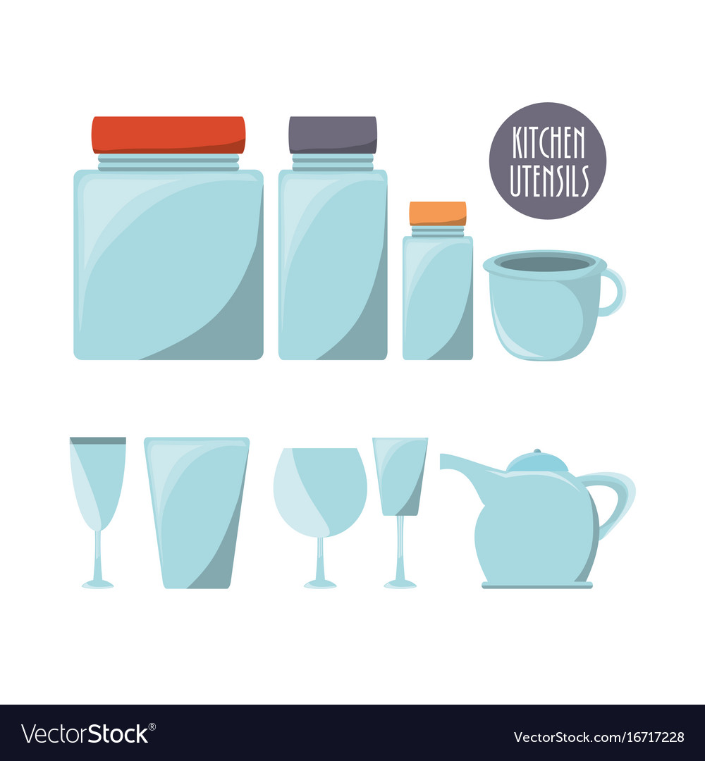 Flat kitchen utensils glass and glass jars Vector Image